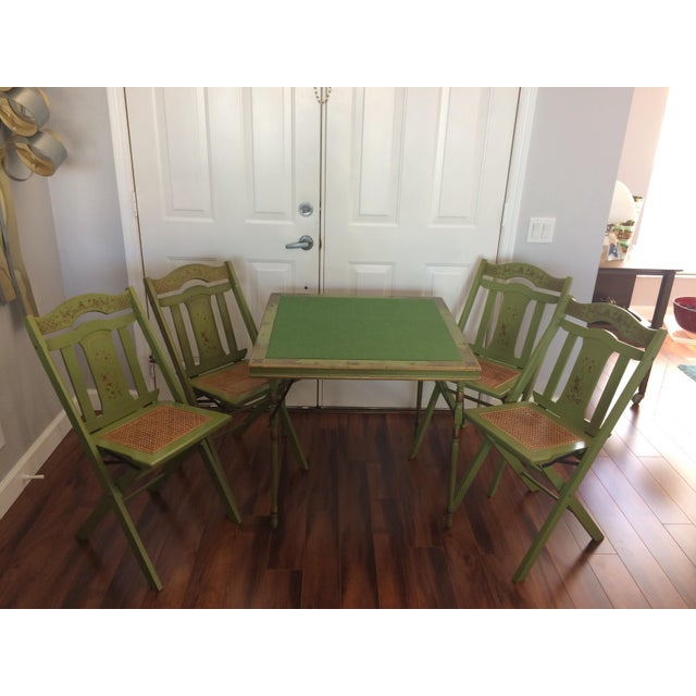 Super Cool and Retro Felt Top Card/Game Table with stenciled edges. Comes with 4 Amazing, Ferguson Brothers Folding Chairs...
