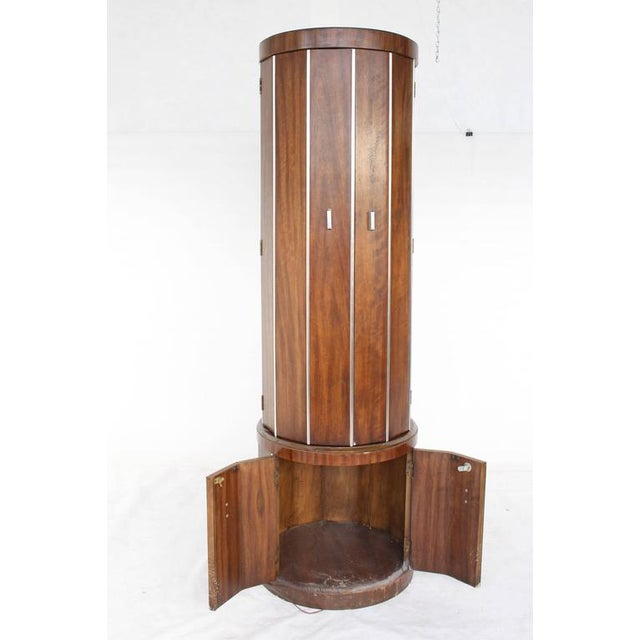 Cylinder Shape Liquor Bar Cabinet Walnut For Sale - Image 4 of 5