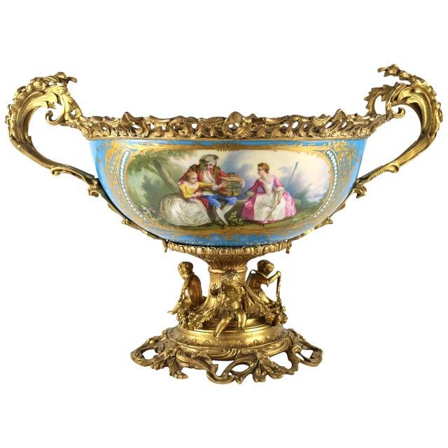 19th Century Sevres Style Porcelain & Gilt Bronze Centerpiece For Sale