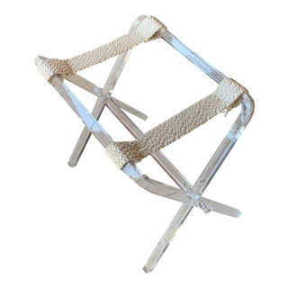 Charles Hollis Jones Style Lucite and Macrame Folding Luggage Rack For Sale