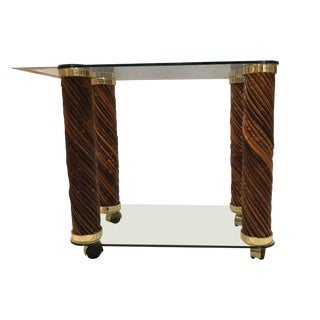 20th Century Modern Brass and Rattan Bar Cart For Sale