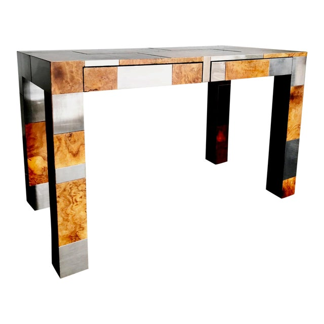"Paul Evans Signed Original ""Cityscape"" Desk in Burl Walnut & Chrome For Sale"