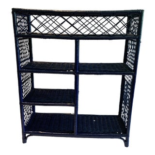 1970s Shabby Chic Rich Navy Woven Wicker Shelf For Sale