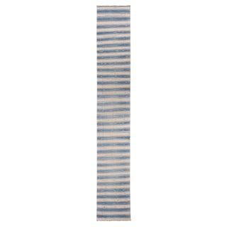 "Vintage Malatya Geometric Blue Gray Wool Kilim Runner Rug - 2'5"" x 15'5"" For Sale"