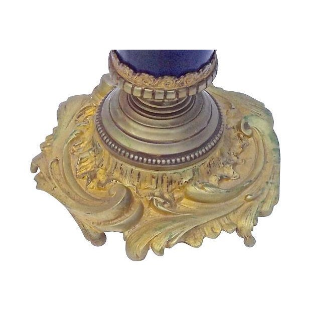 Brown Antique Porcelain Sèvres Lamp For Sale - Image 8 of 9