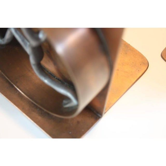 Mid-Century Modern Copper and Pewter Bookends Signed Nelson - Image 10 of 11