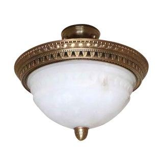 Vintage Salvaged Waldorf Alabaster & Bronze Semi Flush Bowl Light For Sale