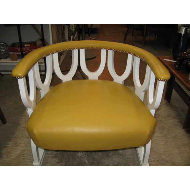 Fabulous Repurposed Vintage Leather Barrel Chair - Image 7 of 8