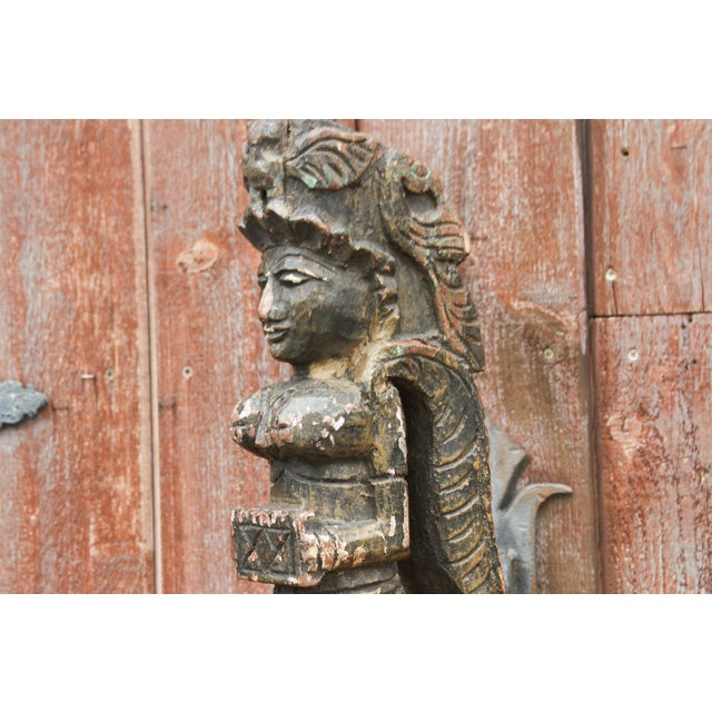 Aged Carved Angel Statue on Stand For Sale - Image 4 of 7
