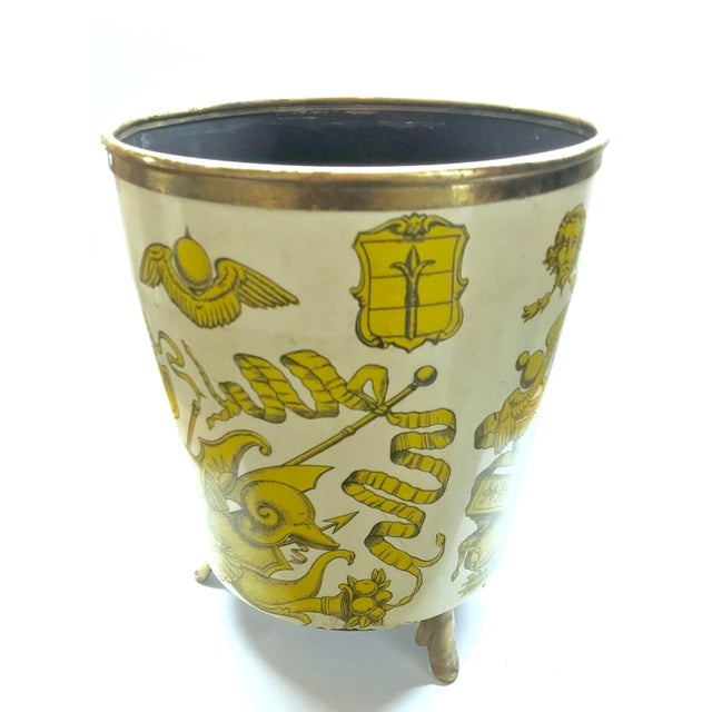1950s Piero Fornasetti 'Golden Armory Crest' Metal Waste Paper Bin For Sale In Los Angeles - Image 6 of 8