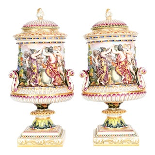 Large Late 19th C. Porcelain Covered Urns - a Pair For Sale