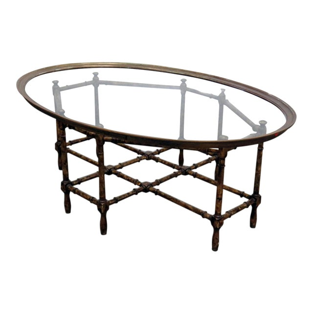 Faux Bamboo Tray Top Table For Sale