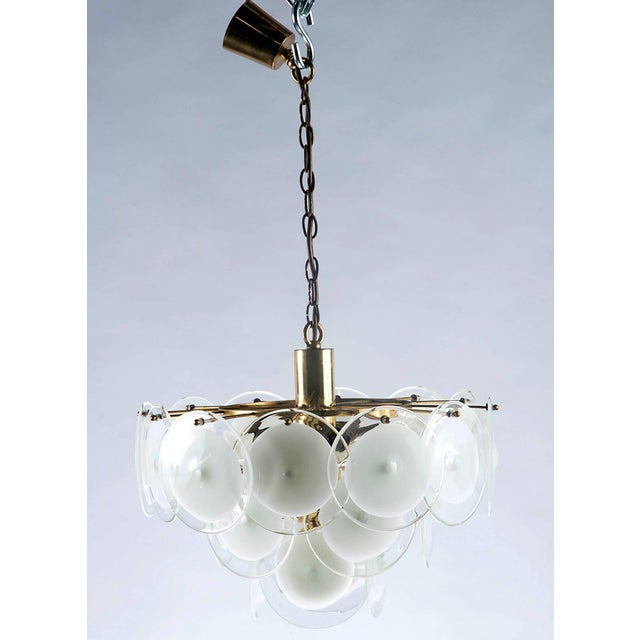 Italian Mid Century Murano Glass Chandelier Manufactured By Vistosi Features A Brass Plated Metal