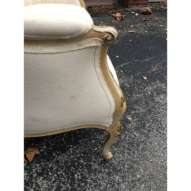 Tan 1920s French Muslin Covered Settee For Sale - Image 8 of 9