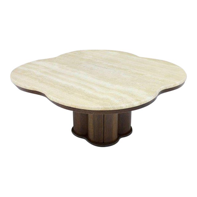 Travertine Cloud Coffee Table With Wood Base, 1970s For Sale