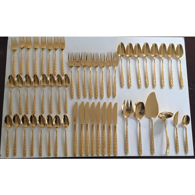Hollywood Regency Hollywood Regency Gold Plated Flatware Set - Service for 8 For Sale - Image 3 of 11