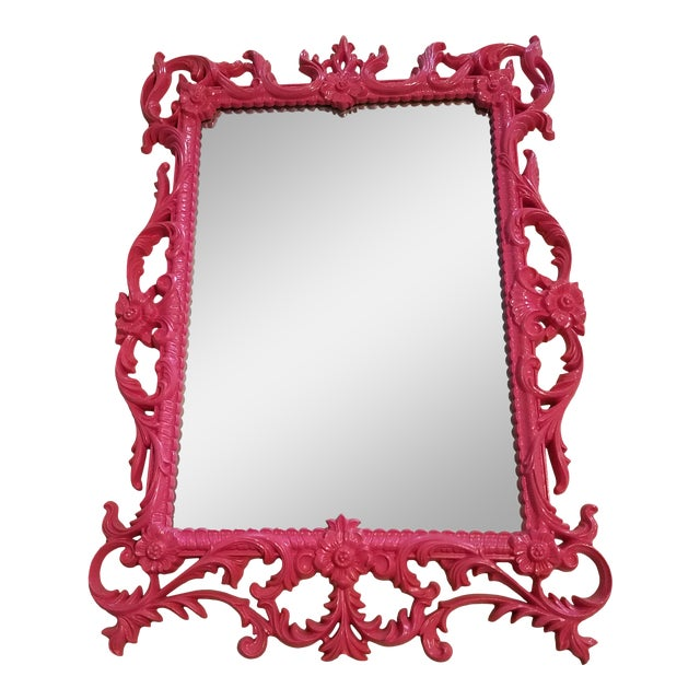 """Vintage """"Turner Wall Accessory"""" Howard Elliot Hot Pink Collection Wall Mirror For Sale"""