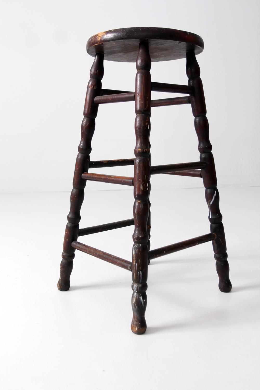 Antique Turned Wood Stool Chairish