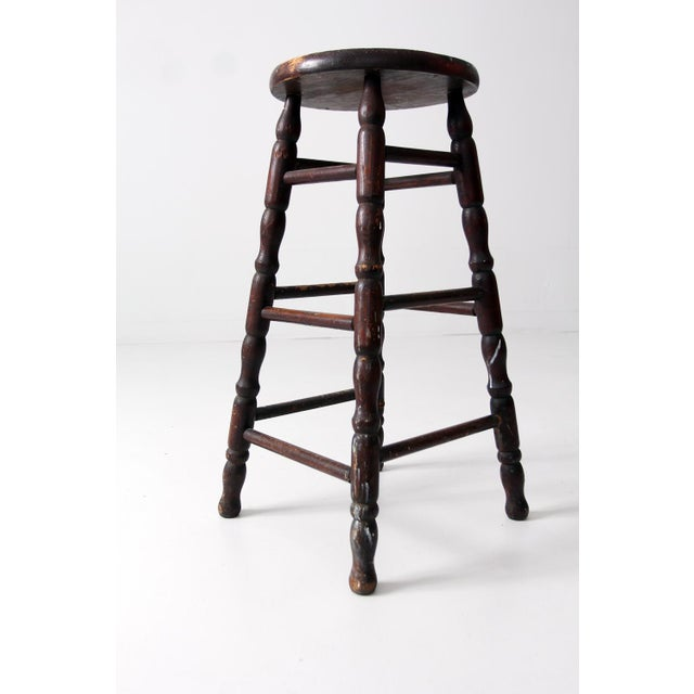 Antique turned wood stool chairish Where can i buy reclaimed wood near me