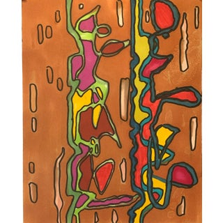"1980s ""Brown Dna"" Abstract Marker Drawing Nyc Artist John Peters For Sale"