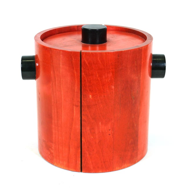 Red Mid-Century Modern Ice Bucket in Red & Black Wood For Sale - Image 8 of 8