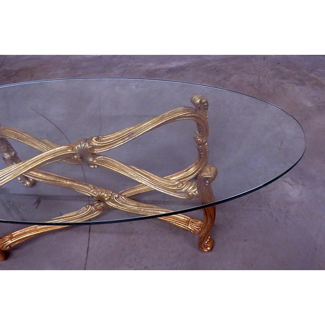 Hollywood Regency Glass Top Coffee Table For Sale - Image 4 of 9