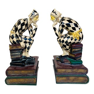 Mid Century Modern Jester Harlequin Bookends - a Pair For Sale