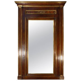 Early 19th Century Empire Walnut Framed Mirror With Gold Detail For Sale