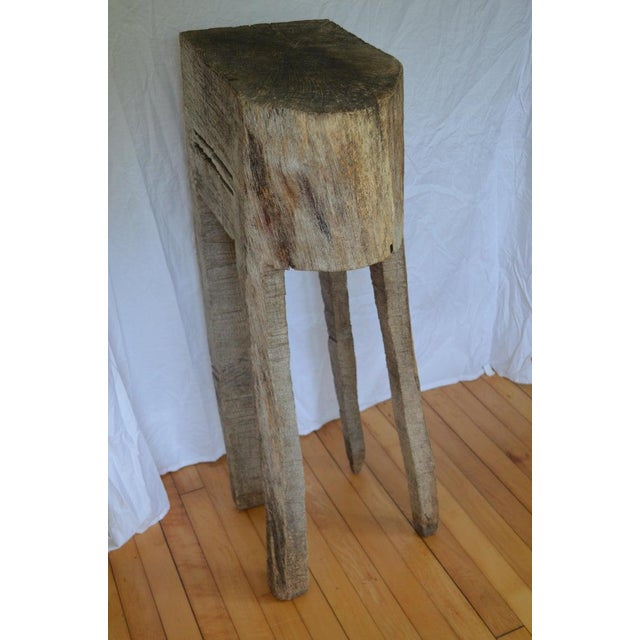 Primitive Chopping Butcher Block With Knife Slots Carved From Fallen Maple Tree For Sale - Image 4 of 12
