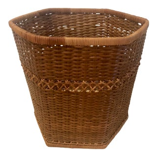 1970s Boho Chic Rattan Waste Basket or Planter For Sale
