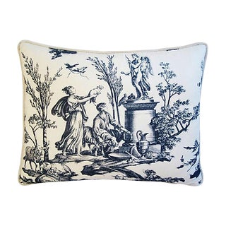 "Custom French Country Toile Feather/Down Pillow 23"" X 18"" For Sale"