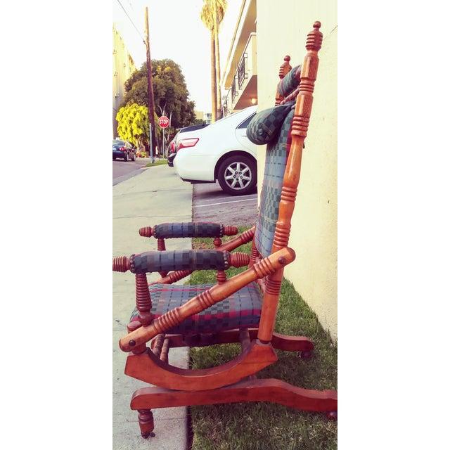 Traditional Antique Eastlake Victorian Turned Walnut Blue Platform Rocking Chair For Sale - Image 3 of 6