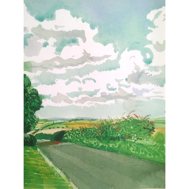 """Kelly Green David Hockney Fine Art Lithograph Print Midsummer : East Yorkshire Series """" Road and Tree Near Wetwang """" 2004 For Sale - Image 8 of 13"""