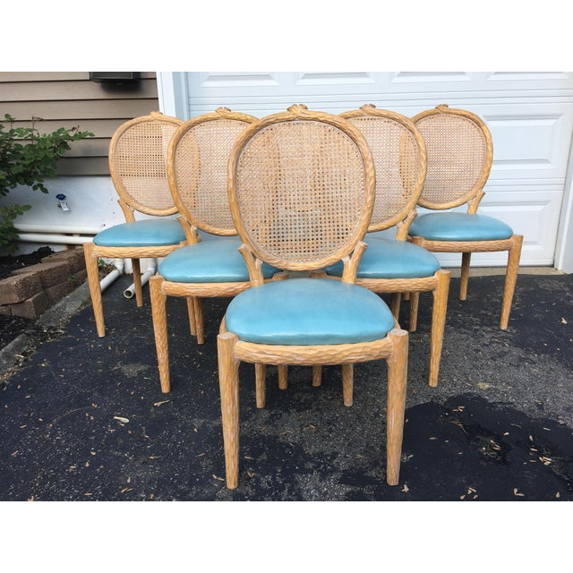 Animal Skin 1970s Vintage Faux-Bois and Cane Dining Chairs- Set of 6 For Sale - Image 7 of 11