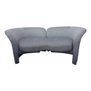 Modern Milo Baughman for Thayer Coggin Grey Fabric Tete a Tete Loveseat Sofa