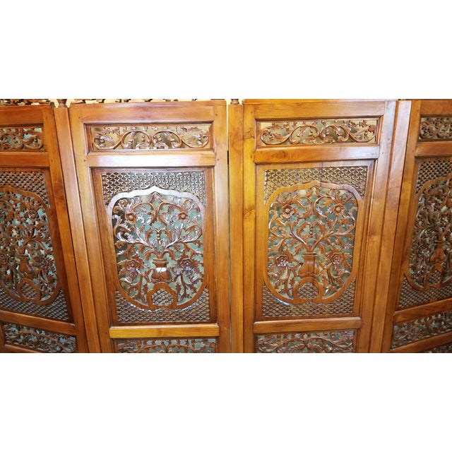 "Asian Southeast Asian ""Lion Shanghai"" Hardwood 4-Panel Screen For Sale - Image 3 of 11"