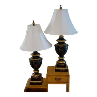 Vintage Bradburn Galleries Neoclassical Lamps in Black and Gold No Shades - a Pair For Sale