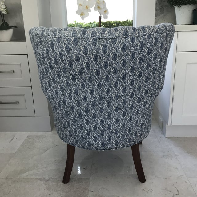 Blue Paisley Upholstered Arm Chair - Image 5 of 7