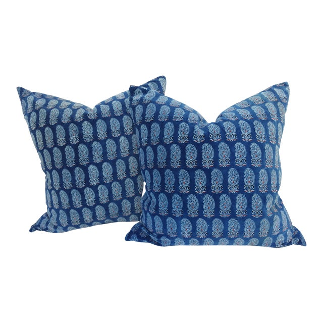 Faded Indigo Velvet Pillows - A Pair - Image 1 of 6