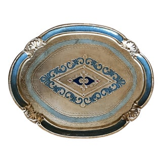 Italian Florentine Silver Gilt and Blue Tray For Sale
