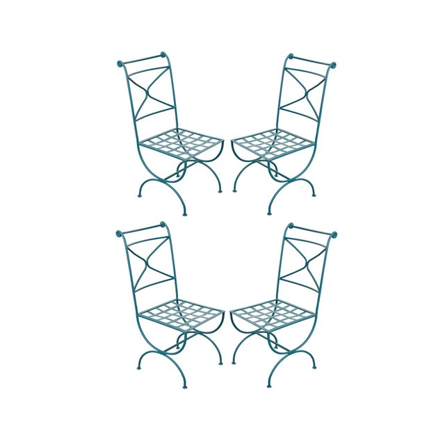 Early 20th Century Roman-Style Painted Wrought-Iron Side Chairs - Set of 4 For Sale - Image 11 of 11