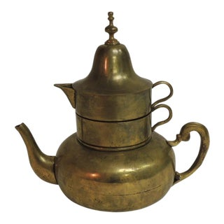 Vintage Moroccan Brass Coffee Serving Set For Sale
