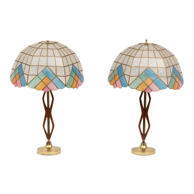 Mid-Century Teak Lamps with Brass & Shades - Pair - Image 1 of 4
