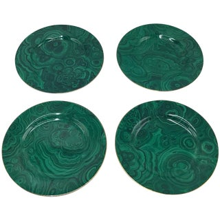 1980s Neiman Marcus Malachite Porcelain Dessert Plates, Set of Four For Sale