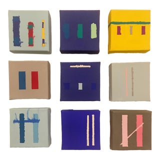 """2018 Brooks Burns """"Numbers Game"""" Abstract Minimalist Paintings - Set of 9 For Sale"""