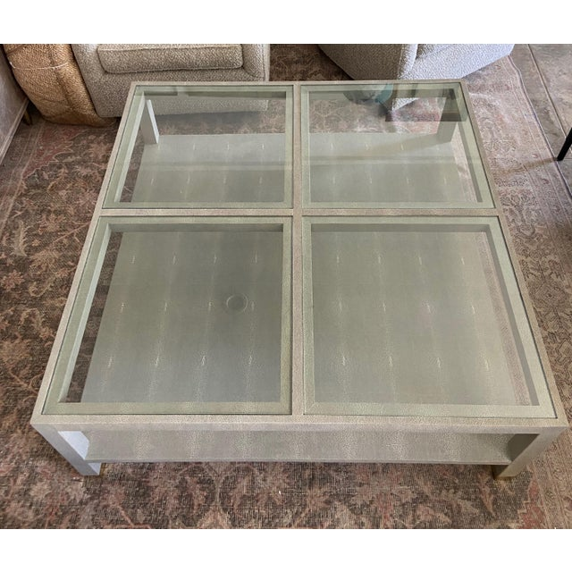 Sand Large Square Faux Shagreen Coffee Table For Sale - Image 8 of 8