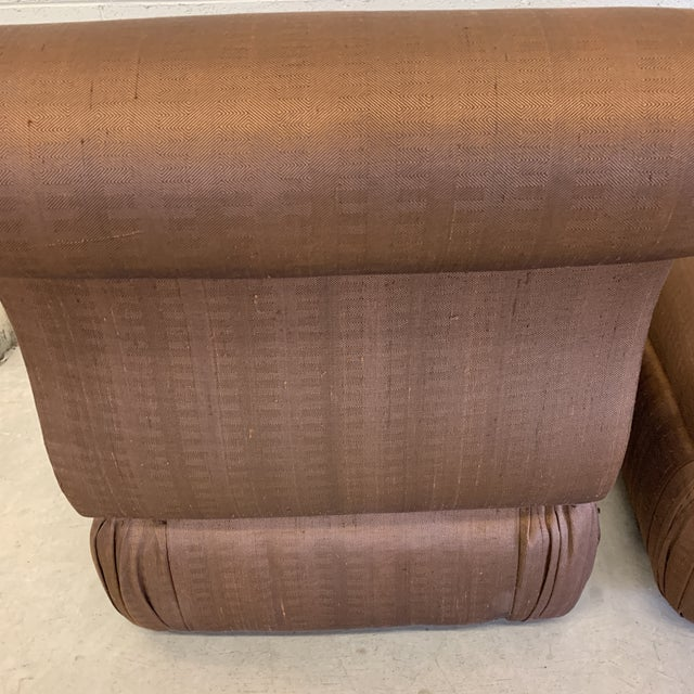Large Hollywood Regency Copper Silk Colored Slipper Chairs - a Pair For Sale In Richmond - Image 6 of 12