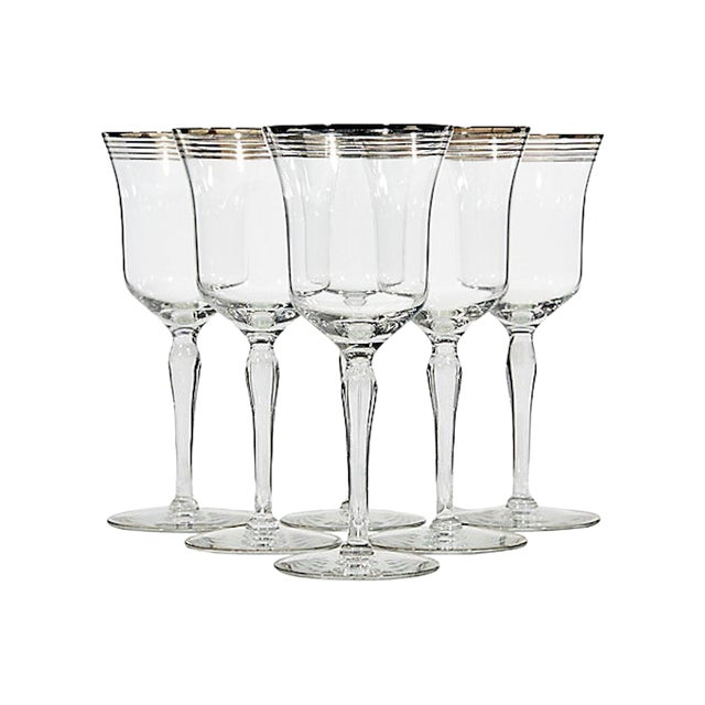 Art Deco Silver Ringed Glass Stems, Set of 6 For Sale