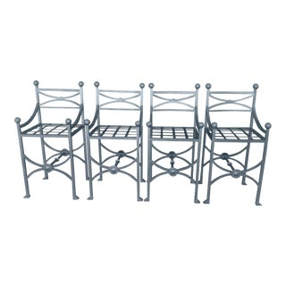 Modern Patio Bar Stools - Set of 4 For Sale