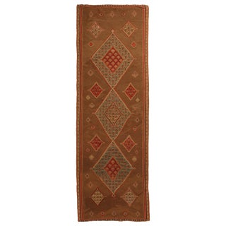 Antique Persian Geometric Beige and Red Wool Kilim-Senneh Runner Rug - 4′2″ × 13′1″ For Sale
